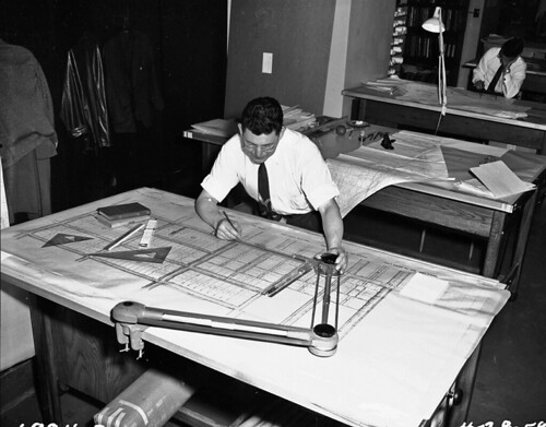 Drafter working in Engineering Department, 1959 | Item ...