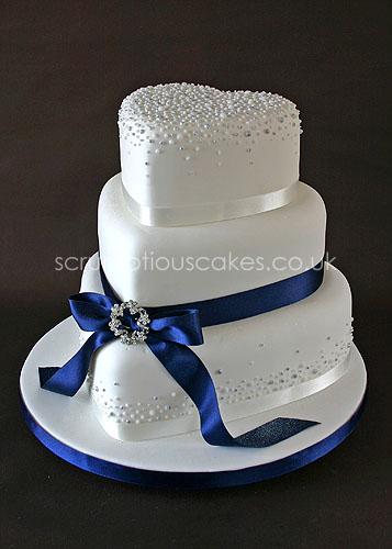 Navy Blue Wedding Cake with Ribbon