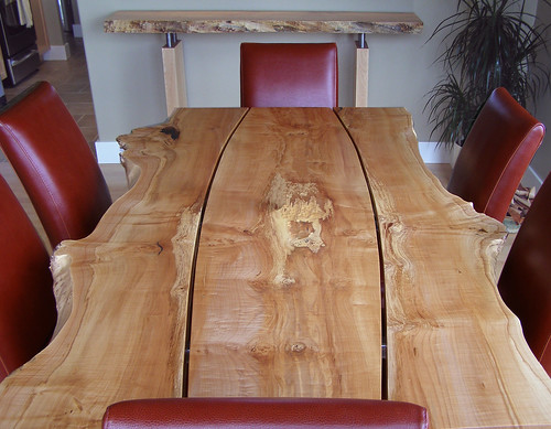 Live edge gapped character slab dining table live edge din flickr for Live edge slab dining room table