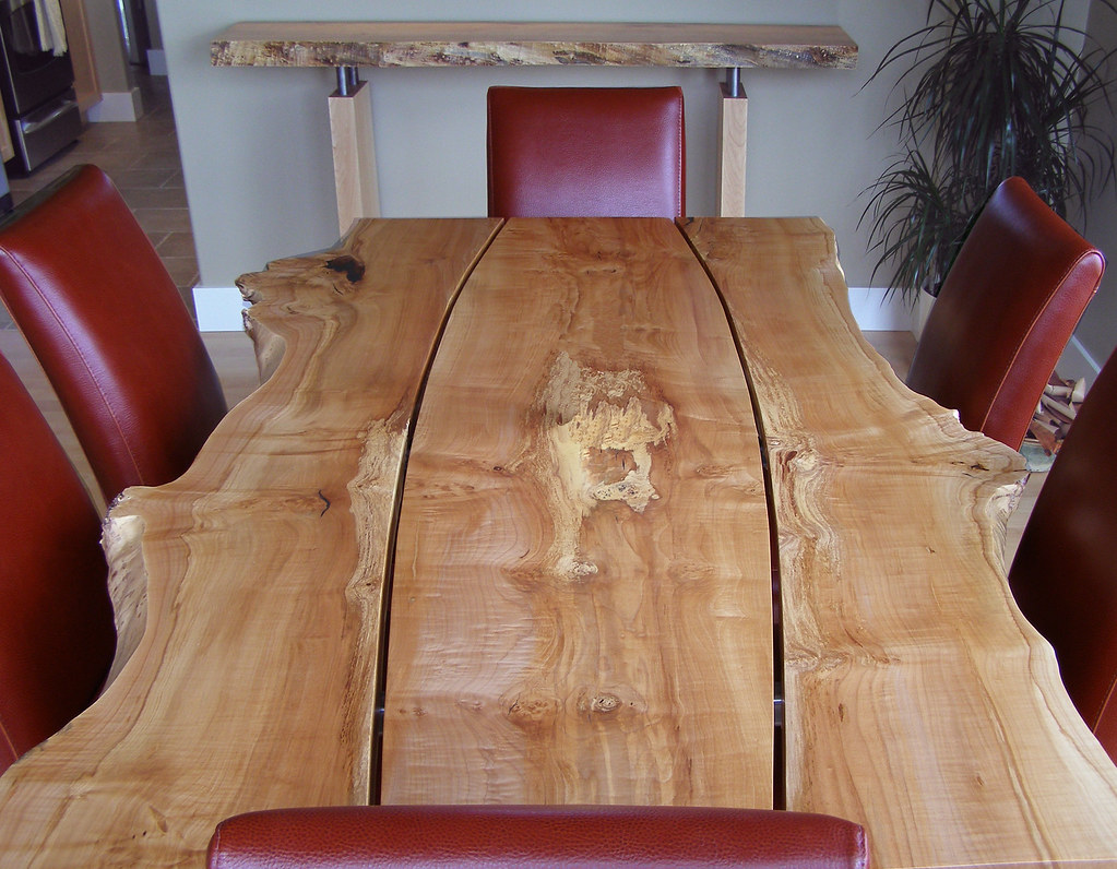 Live Edge Gapped Character Slab Dining Table Live Edge