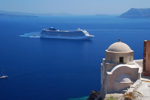 MSC Musica Cruise Ship At Santorini  Greece  Taken From