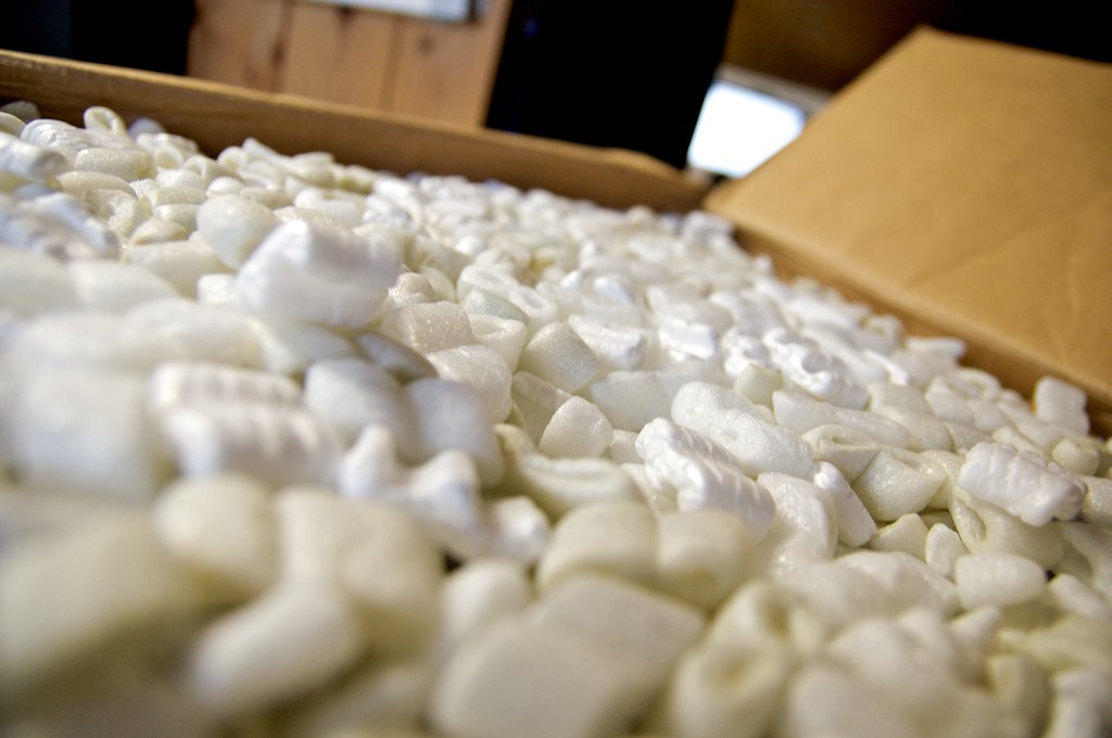 Packing peanuts in moving box