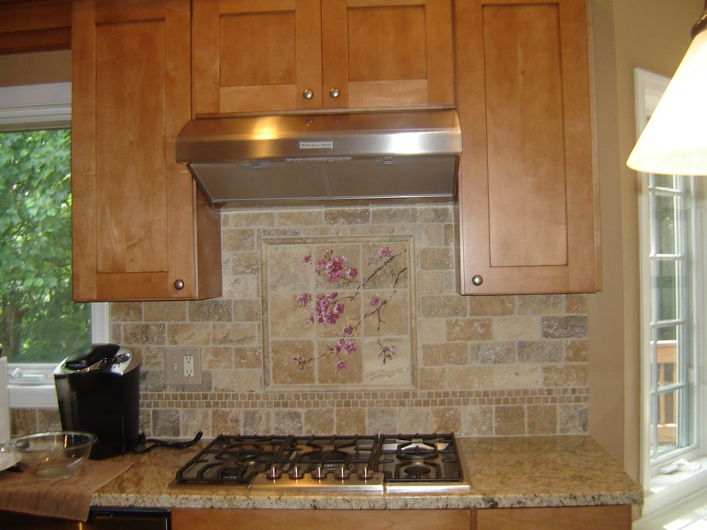 Maple Cabinets Granite Counters Hand Painted Backsplash