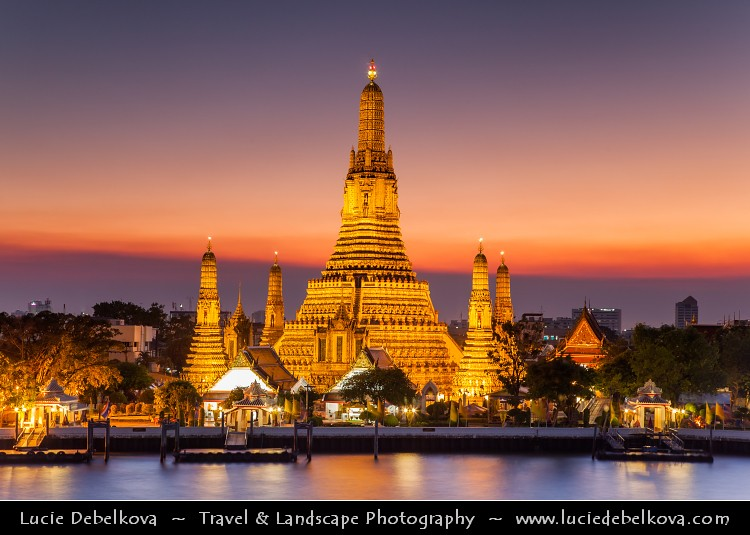 Thailand Sunset Behind Wat Arun Temple Of The Dawn In