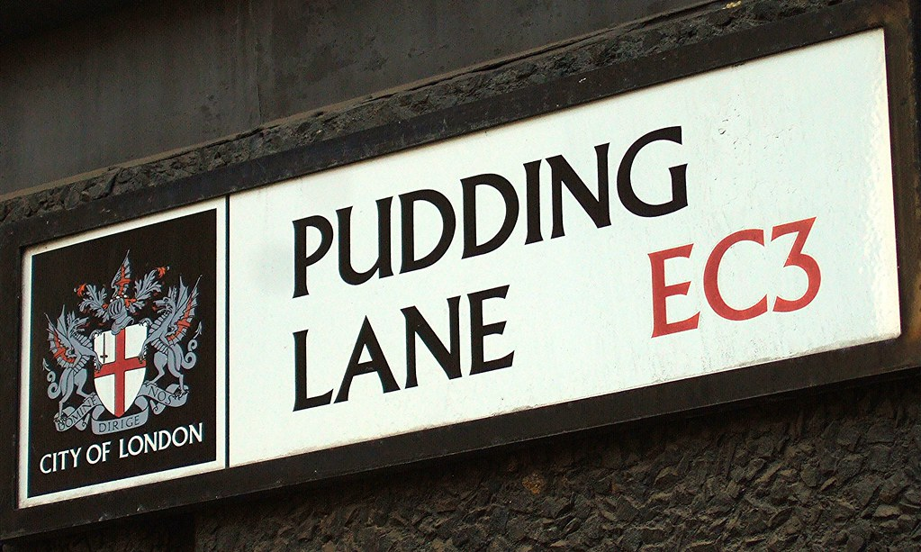 Image result for pudding lane street sign