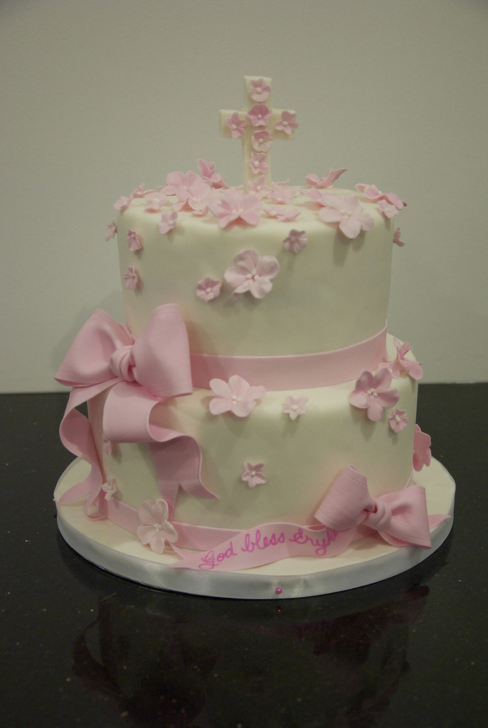first communion cake A 2 tier white fondant covered 1st ...