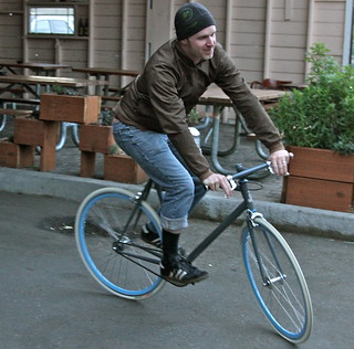 Shawn from SXSW doing his best fixie rider impression | by mathowie