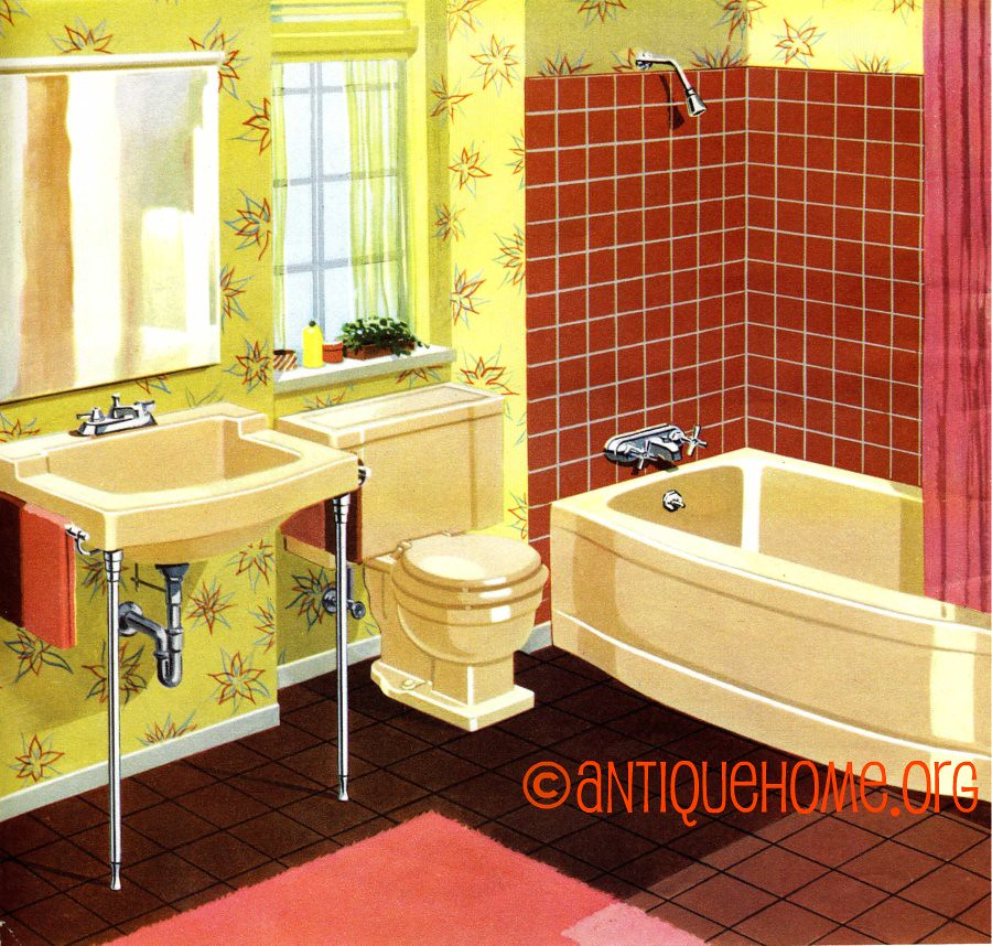 1950 39 S Bathroom Pink And Yellow Fifties Bath Daily