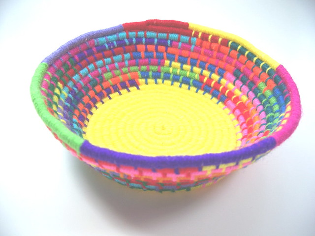 Woven Yarn Basket : Colorful coil woven yarn basket elleellee flickr