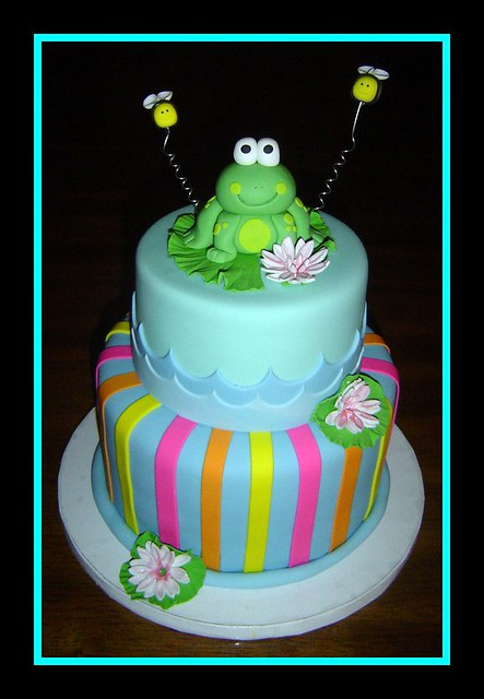 Frog Birthday Cake Figurine