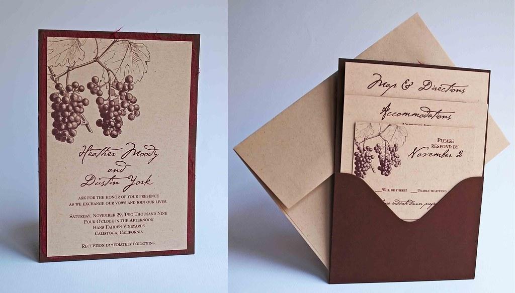 Up Themed Wedding Invitations: Wine Wedding Theme Pocket Invitation