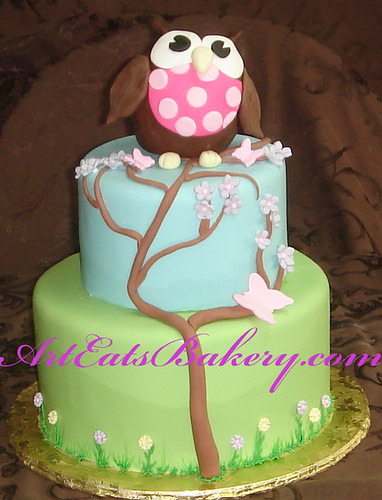 Cake Art N R Colony : Two tier fondant owl and tree birthday cake Art Eats ...