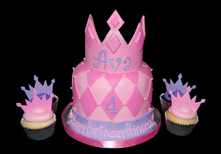 Pink and Purple Princess Tiara Cupcake Tower with Diamond Patterned Topper Cake 4th Birthday | by Sweet Shoppe Mom and Simply Sweets