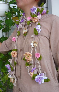 Crochet Spring flowers vine lariat scarf | by Blossoms Cottage