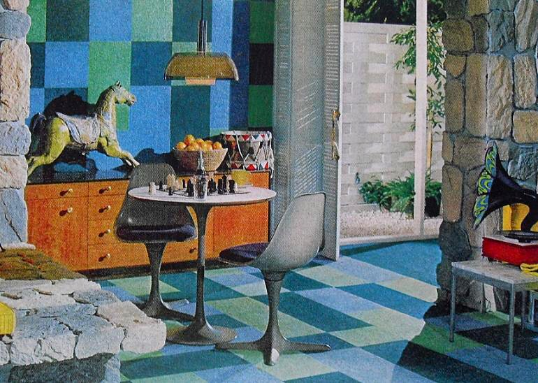 1960s Kitsch Interior Den Rec Room With Psychedelic Victro