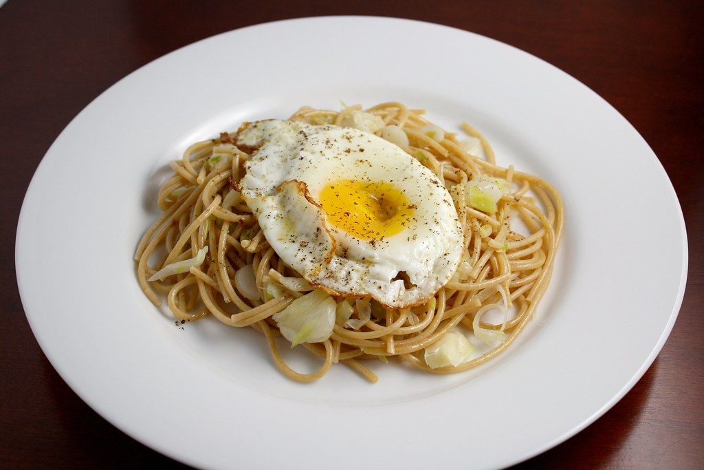 Whole Wheat Pasta with Green Garlic and a Fried Egg | Flickr