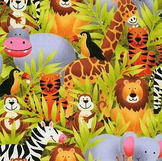 Jolly jungle fabric part of makower 39 s stunning new range for Kids jungle fabric