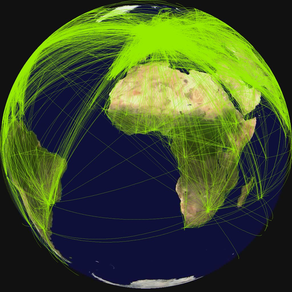 World airline route map 2010 Orthographic projection cent Flickr