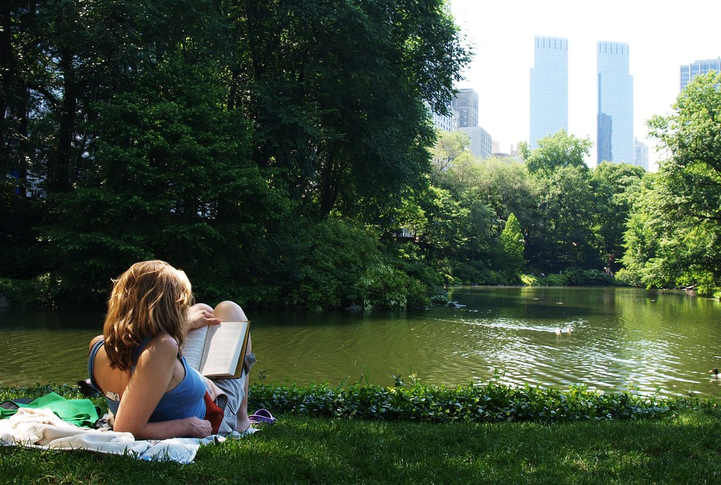 Reading On The Grass In Central Park Www