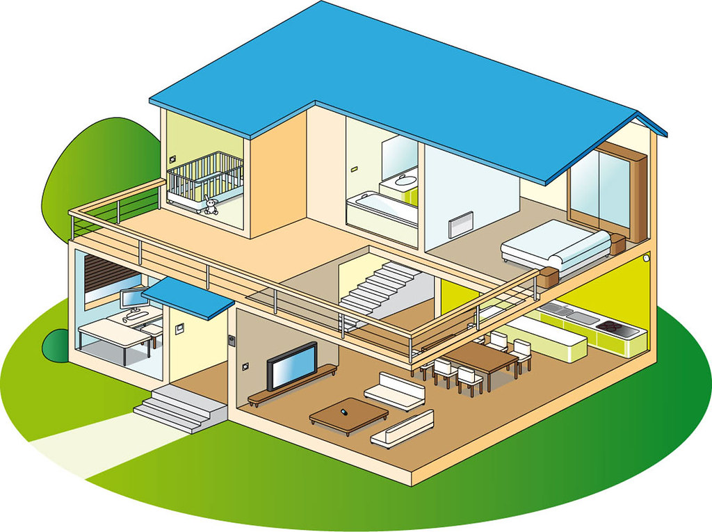 Maison domotique ouverte illustration de maison pour for Dessins maison