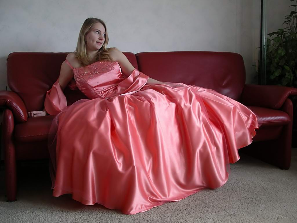 Emersed In Shiny Satin Emersed In Her Shiny Satin Dress