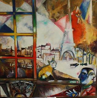 paris par la fen tre 80x80 huile de chagall 1913