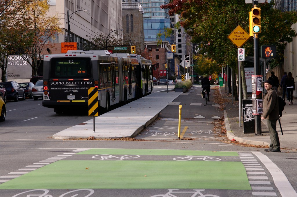 Bus Stop On The Dunsmuir Separated Bike Lane