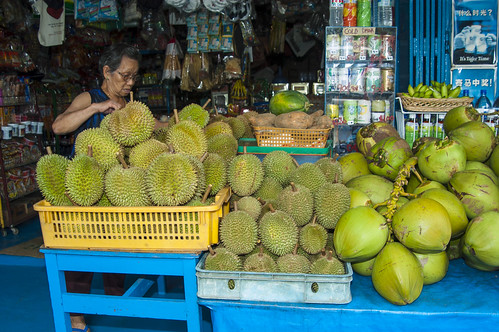 Durians and other local fruits on sale at Pulau Ubin | by wildsingapore