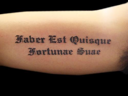 latin text tattoo lettering miguel angel custom tattoo