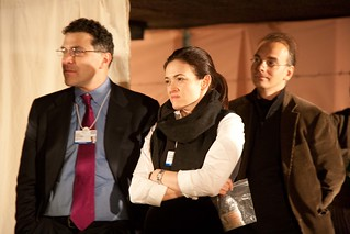 Elliot Schrage and Sheryl Sandberg from Facebook and Randy Ramusack from Microsoft listen to the story of former refugee and child soldier David Livingstone | by Crossroads Foundation Photos