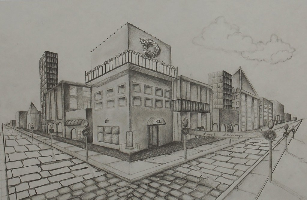 First Two Point Perspective City Project