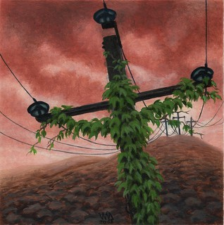 Electric Golgotha, painting by Jean-Marc Dauvergne | by Art-Visionary