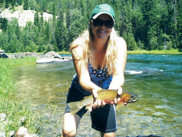 Woman fly fish montana visit northern rockies outfitters for Fly fishing guide jobs