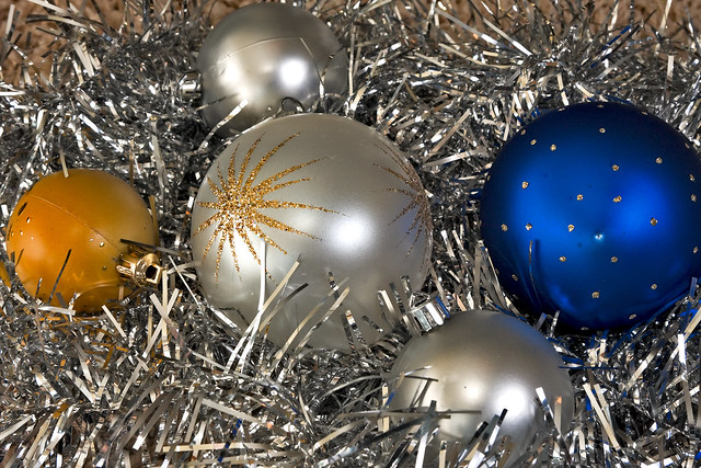 Baubles And Tinsel Used To Decorate The Christmas Tree
