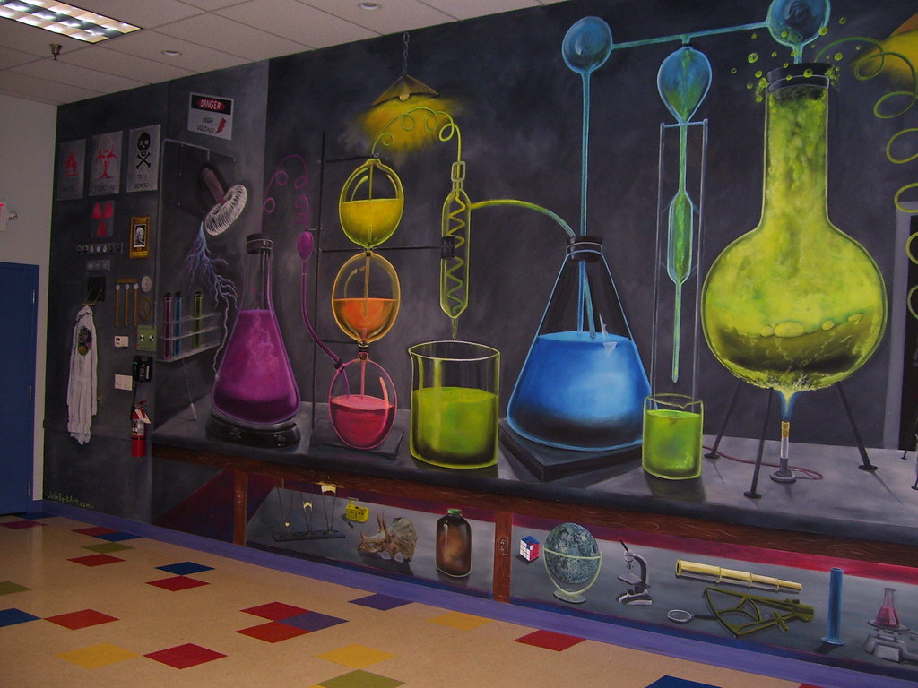 Bubbling potions room mural at the lab mad science of for Define mural painting