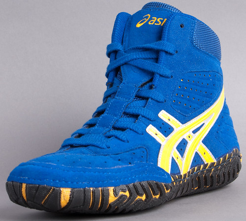 Blue White And Gold Wrestling Shoes
