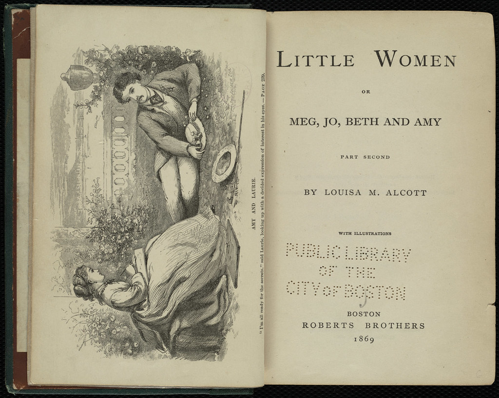 Frontispiece illustration from part 2 of Little Women by Louisa May Alcott (1832-1888), illustrated by her sister May Alcott. Boston: Roberts Brothers, 1869.