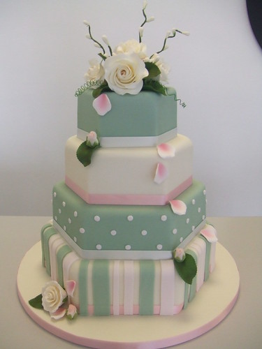 Wedding Cake Latest Design 4 Tier Hexagon In Ivory And