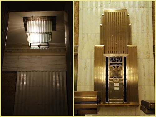 Skyscraper-motif mailbox/elevator indicator & matching chandelier | by Anita363
