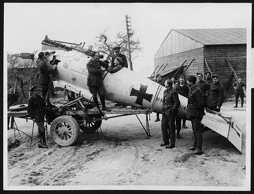 Newly captured German machine at a Flying Corps depot near the front | by National Library of Scotland