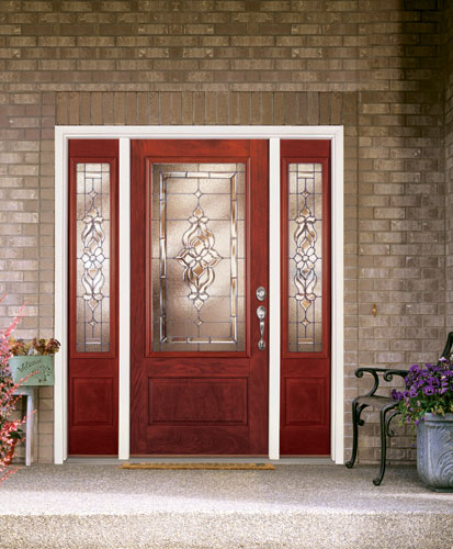 ... Feather River Door Fiberglass Entry Doors   Light Oak Door U0026 Sidelites  W/ A Rectangular Part 84