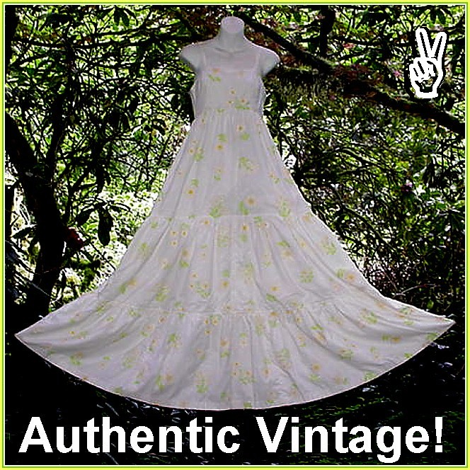 Vintage Hippie Wedding Dresses 1960s Maxi Boho Bride Wedding Dress