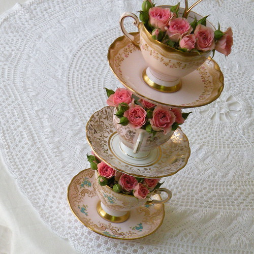 flower tower DIY floral centerpiece of vintage china | by highteaforalice