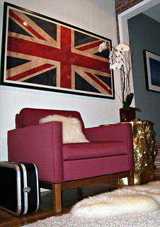 union jack flag print+vintage modern chair+gold stump+dj hero case+mongolian hair pillow+sheepskin rug+game room | by ...love Maegan