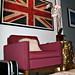union jack flag print+vintage modern chair+gold stump+dj hero case+mongolian hair pillow+sheepskin rug+game room
