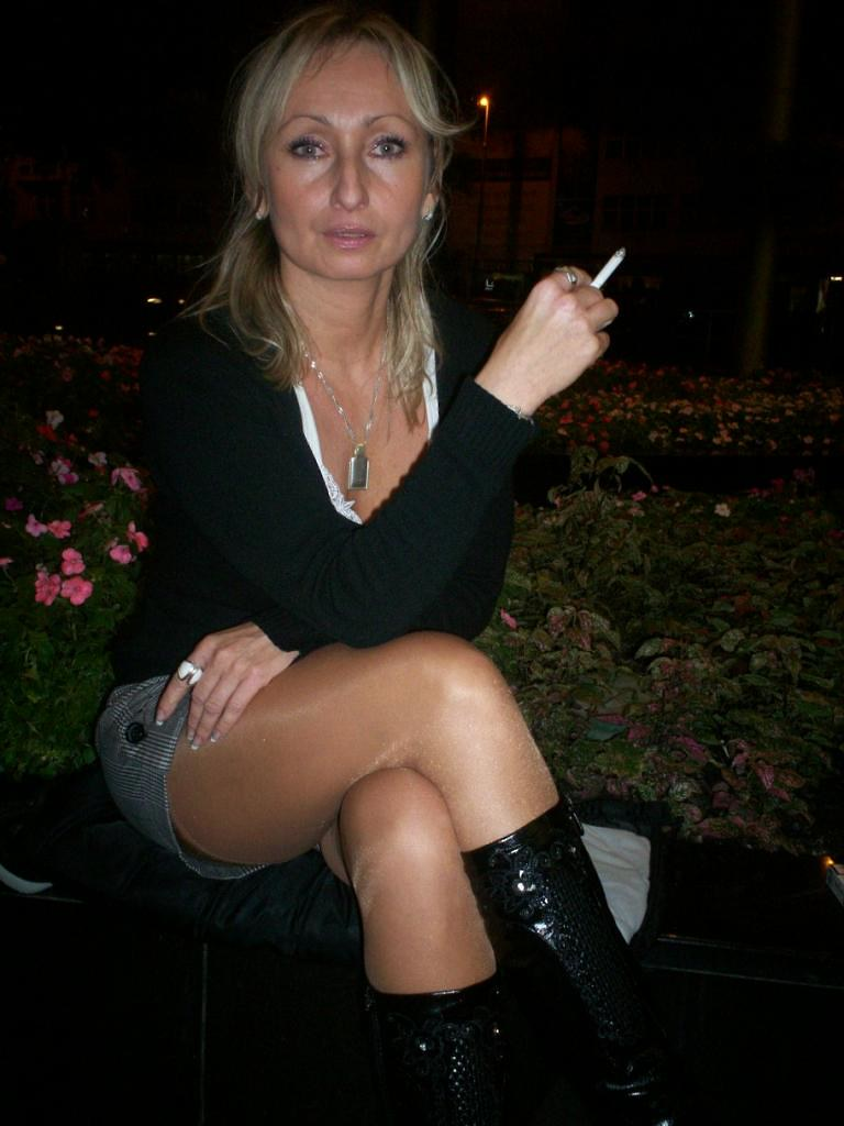 Milf smoking outside
