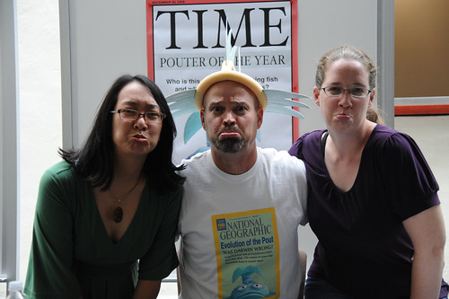 Librarians Ellie Tayag and Janet Pinkley pout with Pout Pout Fish illustrator, Dan Hanna | by California State University Channel Islands