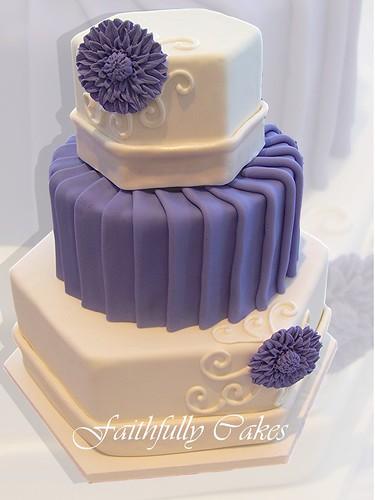 Pleated Purple Wedding Cakes