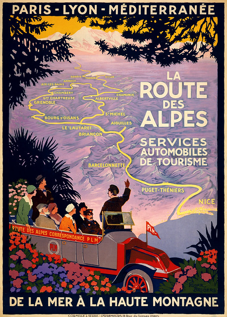 la route des alpes travel poster for plm ca 1920 flickr photo sharing. Black Bedroom Furniture Sets. Home Design Ideas