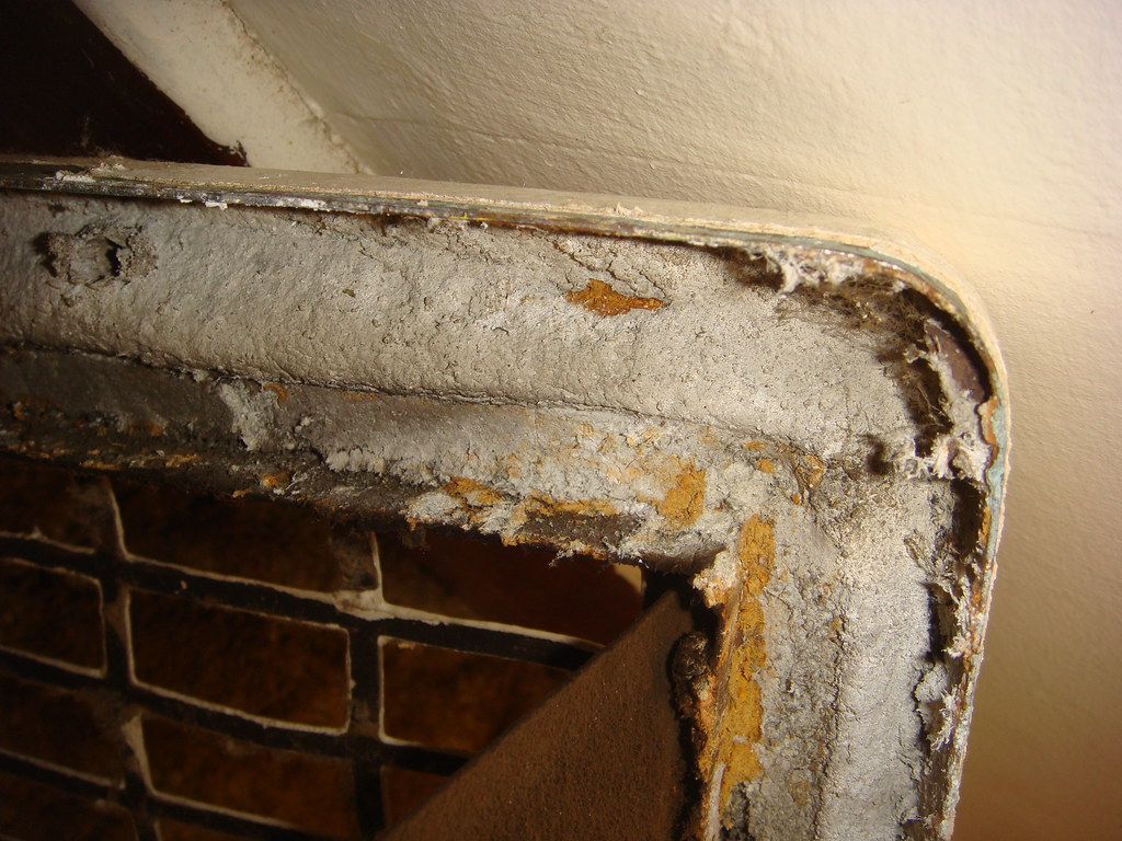 House Heat Register Asbestos Insulation Backside Close